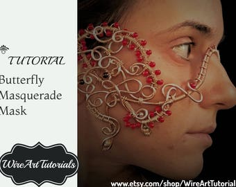 TUTORIAL Masquerade Mask, Wire wrapped copper jewelry guide,lesson,handmade artisan craft,Wedding bridal,Carnival, Halloween,queen, PDF book