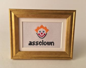Assclown 2x3 Framed Cross Stitch