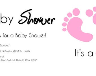 Invitation - Baby Shower - Its a Girl (feet)