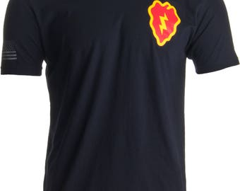 25th Infantry Division & Sleeve Flag | Military US Army Tropic Lightning T-shirt