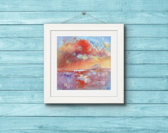 Fine Art Print. Lindisfarne Skyscape. Northumberland Coastline Print from Original Painting. Modern Art.