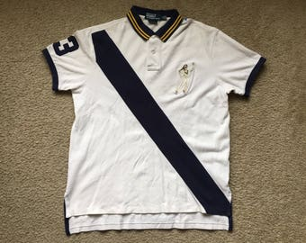 Men's Vintage 90s Polo Ralph Lauren Custom Fit Tennis 3 Logo Polo Rugby Shirt Size Large