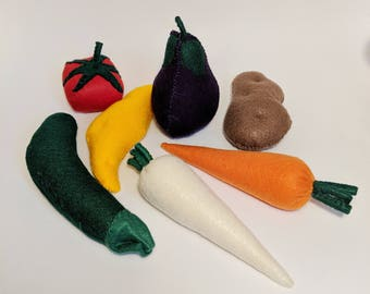 Felt Vegitables - Pretend Play - Imaginative Play - Veggies