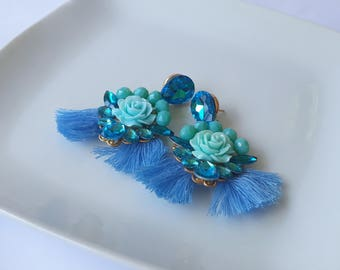 Blue earrings, Crystal earrings, Statement earrings, rhinestone earrings, Tassel earrings, dangle earrings prom earrings, bridesmaid jewelry