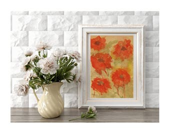 Original Painting of Poppies Flowers Field of Red Poppies Abstract Flowers Small Art Home Decor Spring Flowers Gift for Mother