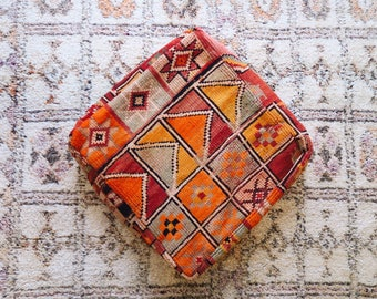 Collage Vintage Moroccan Floor Cushion Pouf Sofa Cover Boujaad Kilim