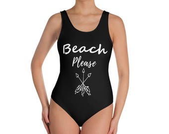 Beach Please  Black Printed Bathing Suite. One-Piece Swimsuit. Trendy Swimwear For Women