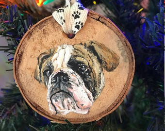Hand Painted English Bulldog Ornament