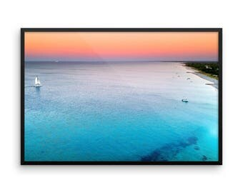 Print | Wall Art | Drone Photography | Beach landscape | Framed & Unframed | Poster| 'Floating on a Sunburnt Sky'
