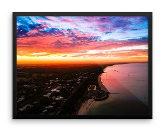 Sunset | Print | Wall Art | Drone Photography | Beach landscape | Framed & Unframed | Poster|  'Busselton Sunset'