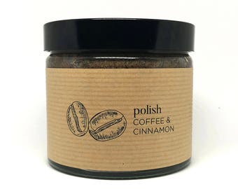 Organic Exfoliating Body Polish with Coffee, Cinnamon, Shea butter & Coconut oil - 100% Natural