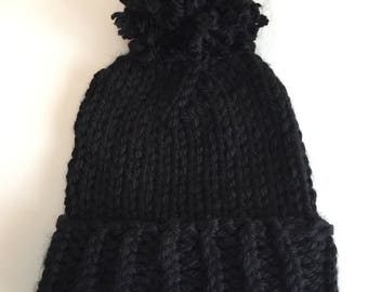 Black Folded Pom Hat