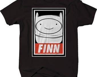 Finn Adventure Time Obey theme Cartoon  - Comfortable Cotton Tee Tshirt Med-6x - Y0432