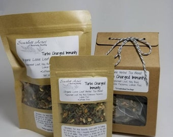 Organic Turbo Charged Immunity Tea Blend, Organic Peppermint Tea, Organic Echinacea Tea, Organic Holy Basil.