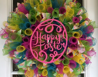Ready to ship! Bright & Colorful Happy Easter Deco Mesh Ribbon Wreath