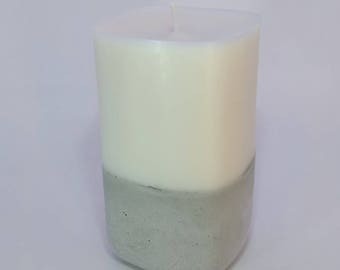 Medium Square Soy Wax Pillar Candle with Concrete Base - Unscented