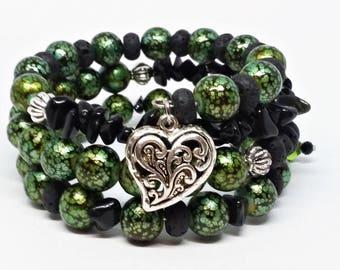 3 Layer Semi-Precious Stone Memory Wrap Bracelet Green & Black