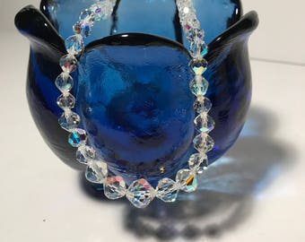 Vintage AB Crystal graduating faceted beaded necklace