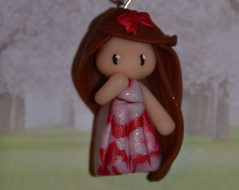 Baby dress red and white glamour, brown hair - Les Marbrees Collection - handmade jewelry
