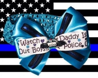 Daddy's Police Back the Blue Support Baby Headband Hair Bow