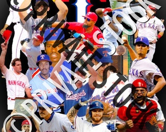 Texas Rangers Baseball Legends Collage