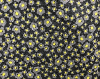 Half Yard Tiny Yellow and Gray Flowers Little Floral Pattern