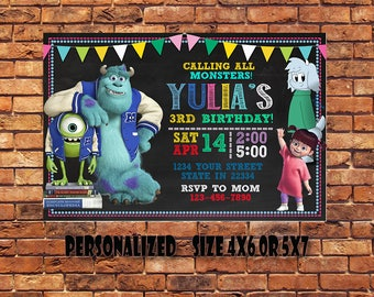 Monsters Inc Invitation,Monsters Inc Birthday Invitation,Monsters Inc Party Invitation,Monsters Inc Printable,Monsters Inc Birthday Card