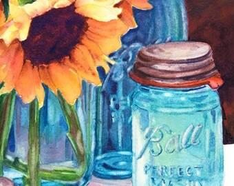 Sunflower & Mason Jar