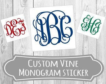 60+ Colors & Sizes To Choose | Vine Monogram Decal Stickers | Custom Monogram Vinyl Sticker | FREE SHIPPING | Oracal Brand Vinyl
