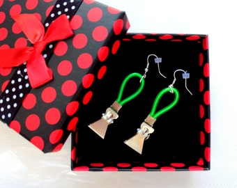 Metal earrings with a design made of plastic wire, Unusual earrings,modern style, youth, gift, avant-garde style