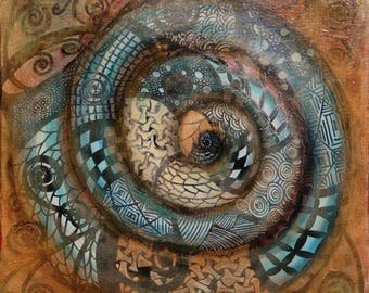 Acrylic, canvas, spiral, snail, fossil, painting, art, Deco