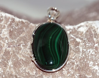 Malachite Pendant. Impressive piece of dark green Malachite in classic, sterling silver setting. Handmade & unique.
