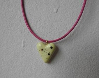 Ceramic heart pendant necklace
