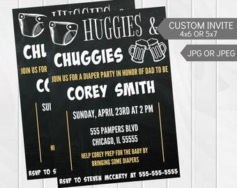Huggies & Chuggies Diaper Party Invitation - Custom Dad Shower Invite