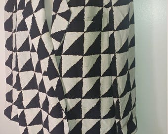 Linda Allard Ellen Tracy Double Breasted Silk Blazer Jacket Size 10, Black/Ivory