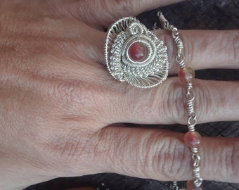 Ring and matching bracelet  Watermelon tourmaline set in 925 silver wrap