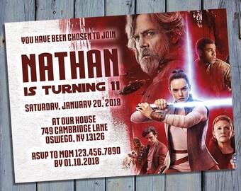 Last Jedi Birthday Invitation, Star Wars Party Card Invite, Episode 8 Printable Digital Invitations, Movie Custom Personalized Printables