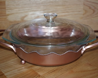 Vintage Clear Casserole with Serving cradle