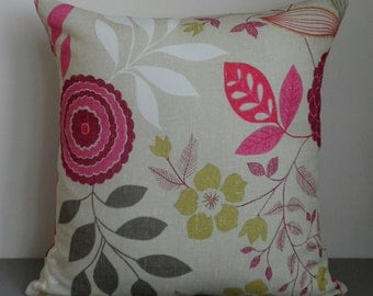 """Floral cotton cushion cover in beige, pink and green. 17"""" x 17"""""""