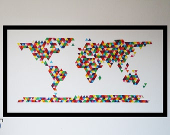 World map 2D, KIT papercraft, DIY, creating something unique with your hands, wall decoration
