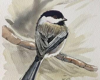 Chickadee Watercolor Print Wildlife Art Nature Art Avian Art