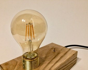 upcycling table lamp made of oak with switch No. 4