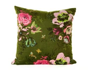 Velvet Floral Fiona Cushion Cover olive green