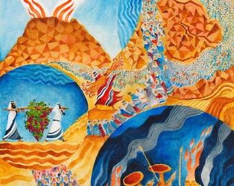 DEVARIM,original art,Judaic art,naive art,bible verse wall art,Judaica gift,small canvas art,wall art,original painting,best BarMitzvah gift