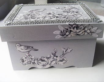 Jewelry box, decorative storage,  separate lid,  light gray, birds and flowers, fabric decoupage, table decor, butterfly beads, silver trim