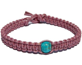 Hot Pink flat leather bracelet or anklet with turquoise howlite bead
