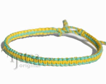 Flat green and yellow hemp twine thin bracelet or anklet