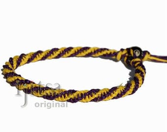 Purple and yellow hemp twine thin round bracelet or anklet