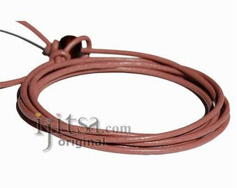2mm dusty rose leather adjustable surf wrap bracelet