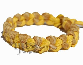 Wide Golden brown rainbow and Yellow hemp chain bracelet or anklet